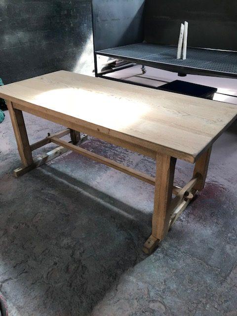 aérogommage table en chêne